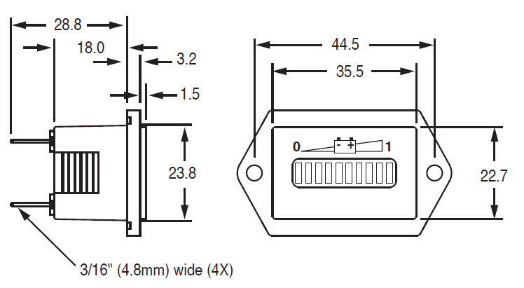 12483 3610417 discharge indicator led panel mount battery 12 48 vdc curtis battery meter wiring diagram at crackthecode.co