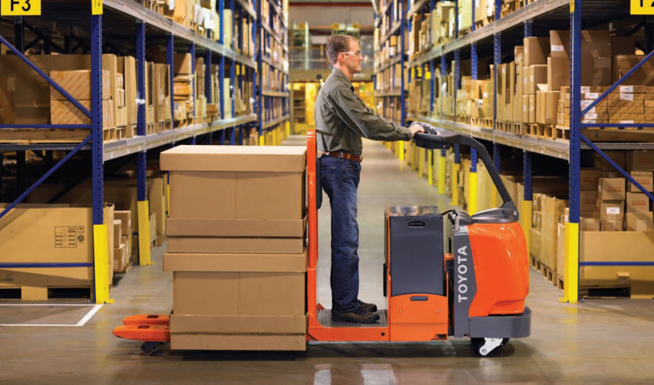 electric pallet truck stand up control for warehouses distribution 8hbcxx toyota industrial