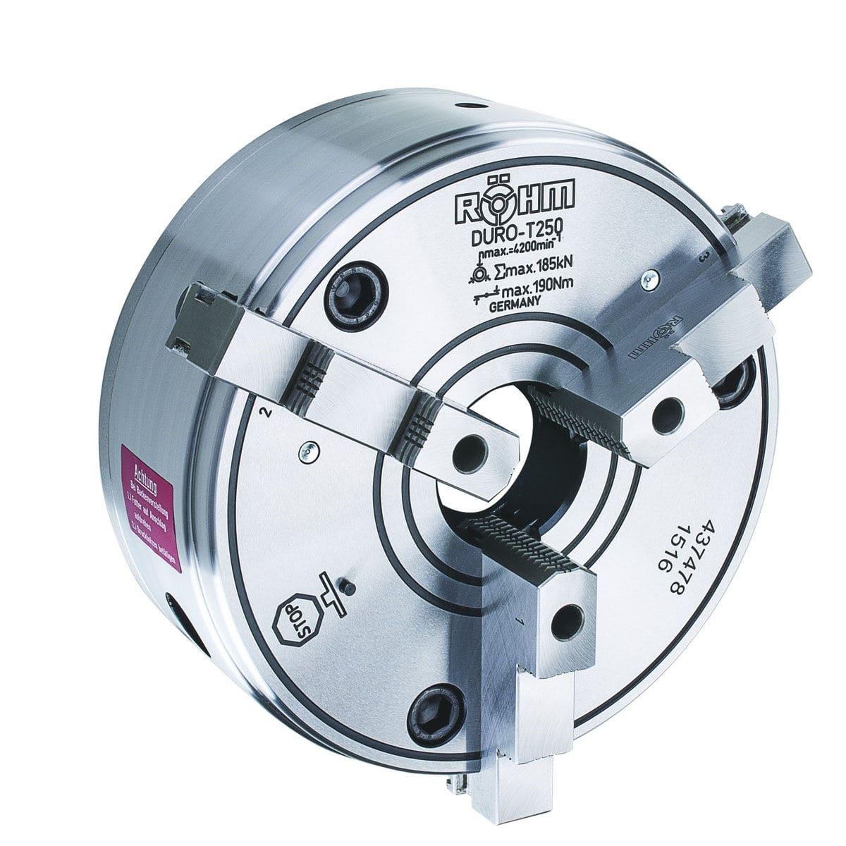 manual tightening turning chuck / 3-jaw / lathe / through-hole - DURO-T  series
