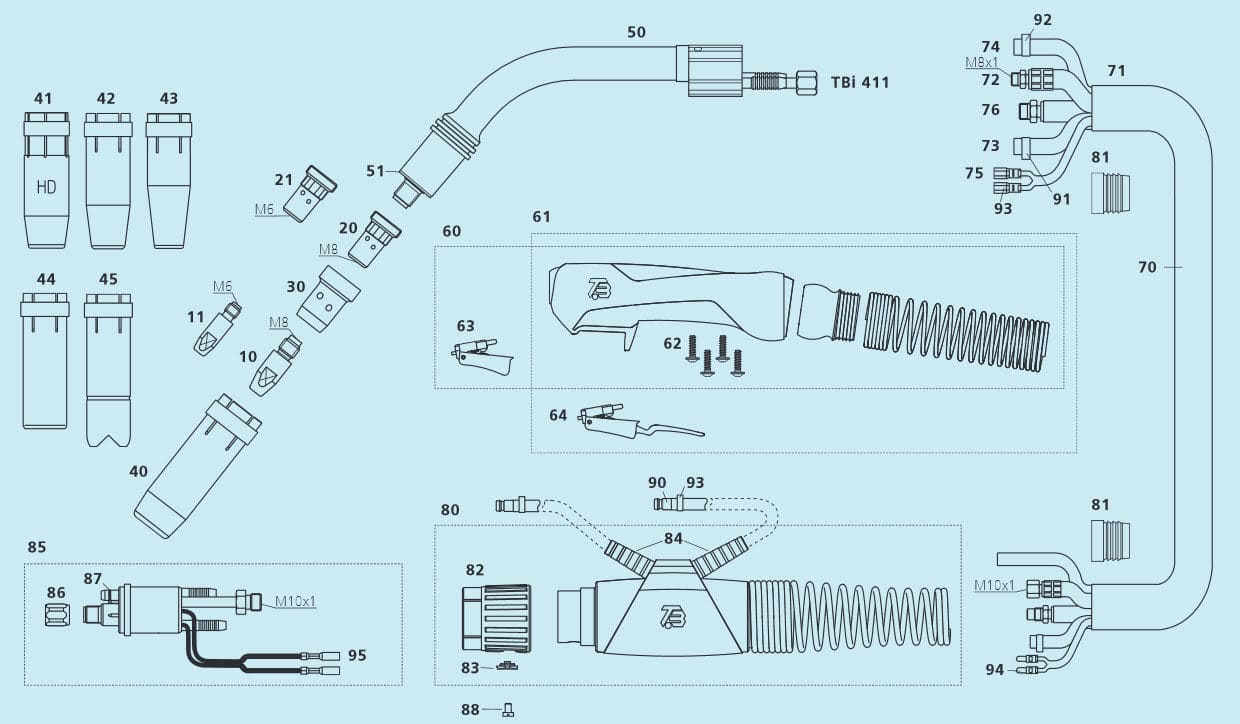 Mig Mag Welding Torch Water Cooled Tbi 411 Expert Industries Diagram Of