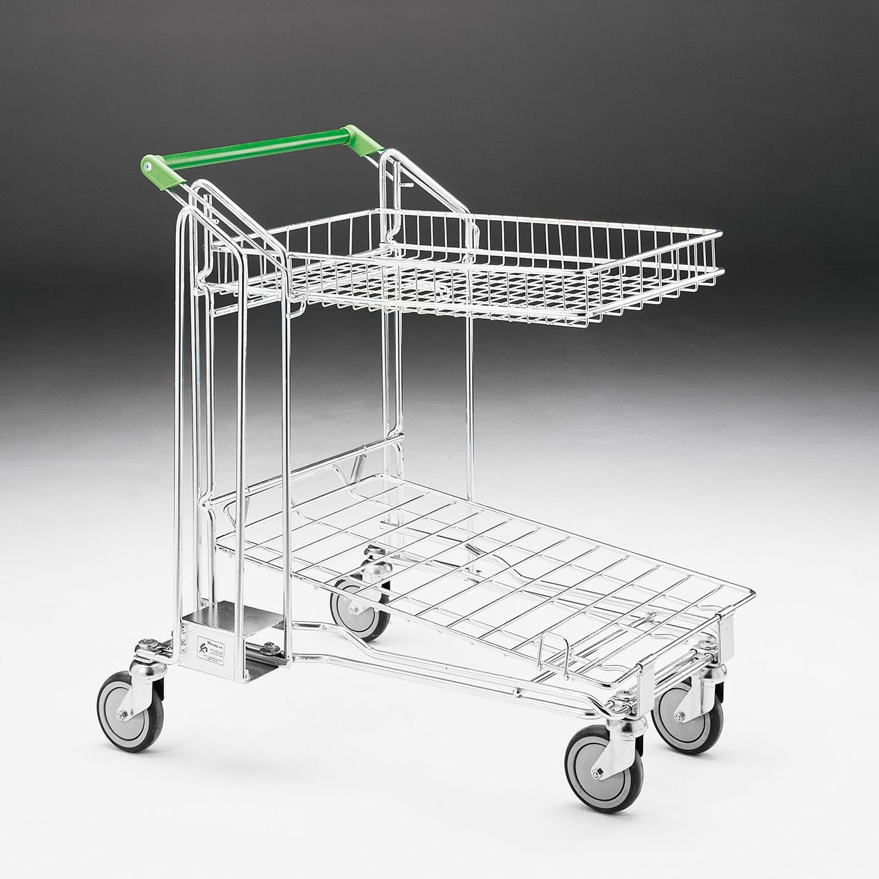 Transport cart / metal / wire mesh platform / with swivel casters ...