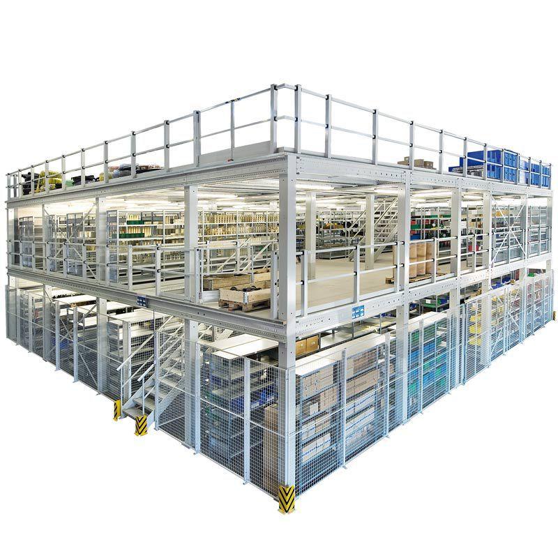 Gebrüder Schulte shelving with mezzanine storage warehouse galvanized multi