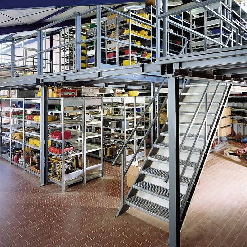 Gebrüder Schulte industrial mezzanine with racking system for warehouses