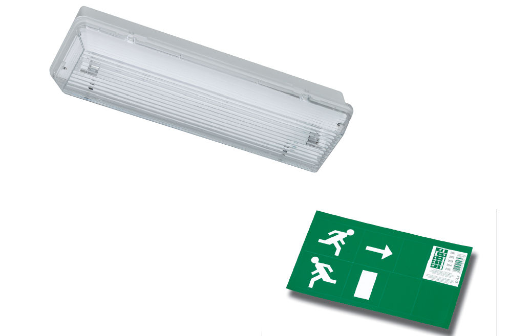 Emergency lighting led office surface mounted 8 w ip 65 zeta ii