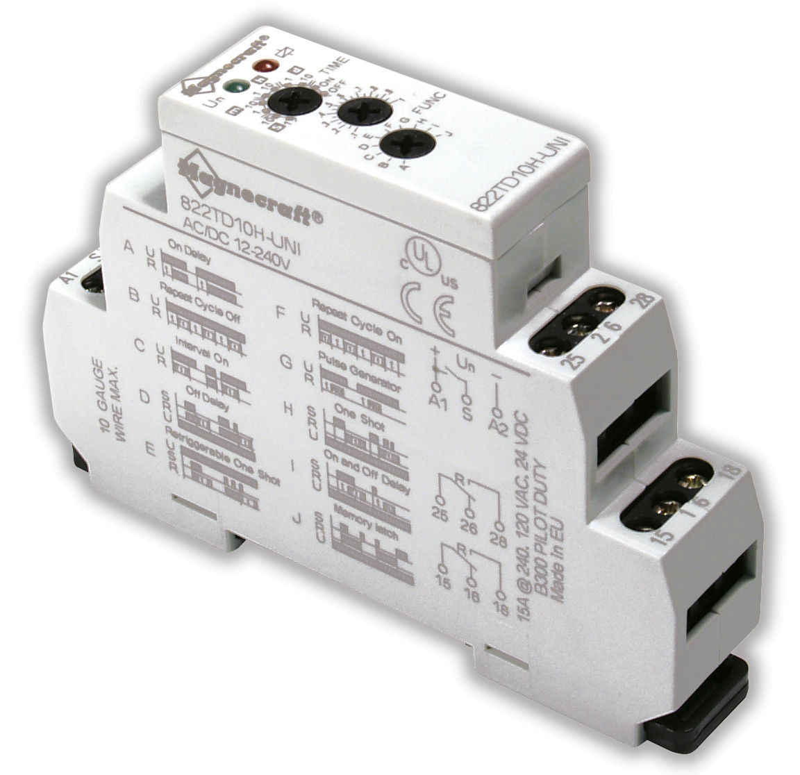 Multi Function Time Relay Din Rail Mounted 15 A 820 Series Dpdt