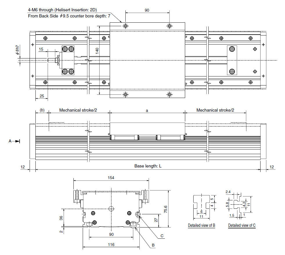 Linear Actuator Electric Ball Screw Single Axis Gl Series Thk Schematic