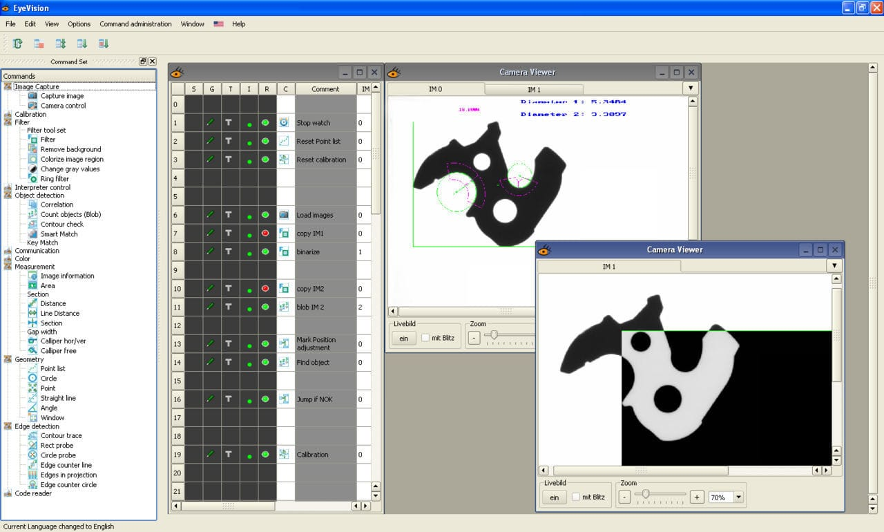 Image-processing software / video camera / for acoustic camera / for