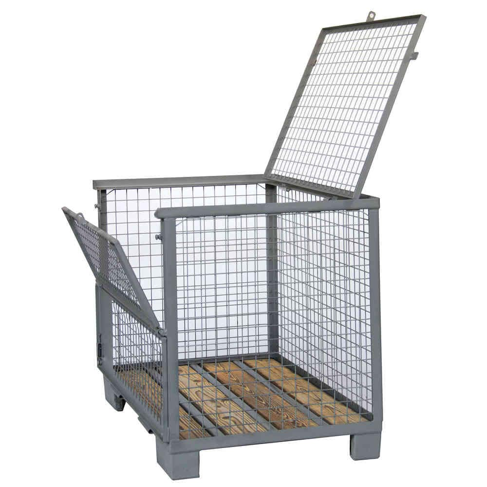 Wire mesh pallet box / storage / with lid / for heavy loads - Arcawa ...