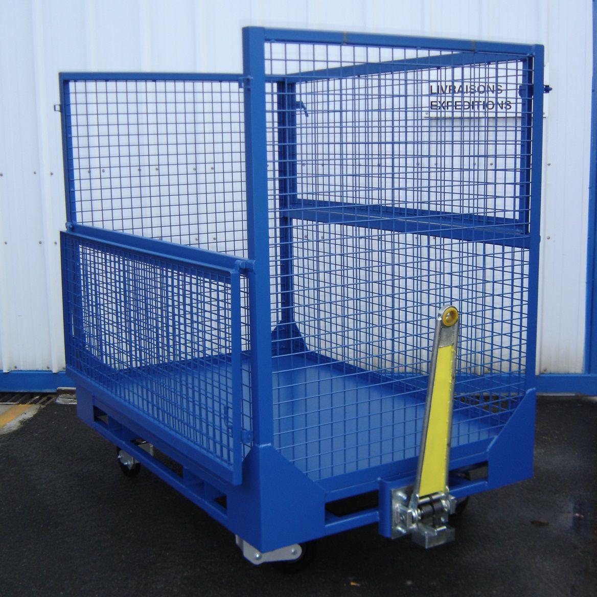 Transport cart / metal / wire mesh platform / waste - MANERGO