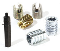 Threaded insert / self-tapping / stainless steel / round