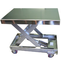 Scissor lift table / electric / foot-operated / mobile