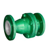 Disc check valve / flange / for the chemical industry / PTFE-lined