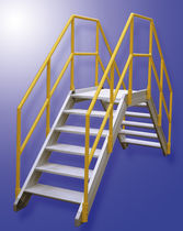 Work platform / storage / mobile / with safety railing