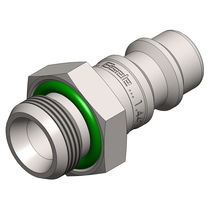 Push-in fitting / straight / pneumatic / stainless steel