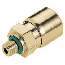 Push-in fitting / straight / pneumatic / brass