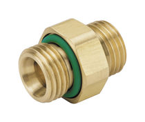 Brass nipple / threaded / hexagonal / straight