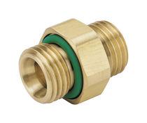 Brass nipple / straight / threaded / hexagonal