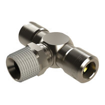 Screw-in fitting / T / pneumatic / nickel-plated brass