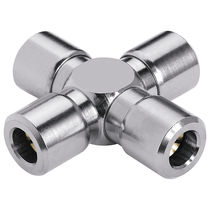 Push-in fitting / cross / pneumatic / nickel-plated brass