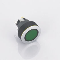 Single-pole push-button switch / round / green LED / watertight