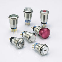 Single-pole push-button switch / illuminated / stainless steel / electromechanical