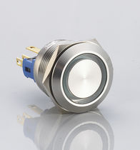 Single-pole push-button switch / non-illuminated / momentary / aluminum