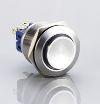 Single-pole push-button switch / panel-mount / stainless steel / electromechanical