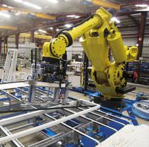Robotic mounting cell / handling / for glazing