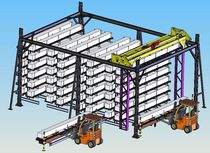 Vertical automatic storage system / for long products / overhead crane