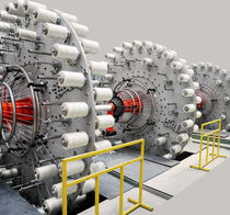 Tube extrusion line / for thermoplastics / for gas pipes / for high-pressure pipelines