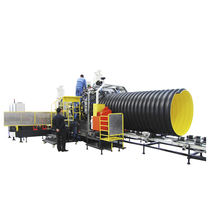 Tube extrusion line / for thermoplastics / for corrugated pipe / for drainage pipes
