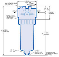 Cartridge filter housing / for liquids / aluminum