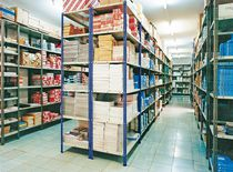 Two floor shelving / archival / slotted angle / metal