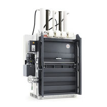 Vertical baling press / front-loading / for waste / for plastic film