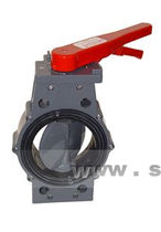 Butterfly valve / lever / for acids / in plastic