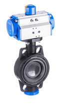 Butterfly valve / pneumatically-operated / for hot water / PVC