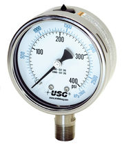 Pressure gauge / liquid-filled Bourdon tube / analog / process / vacuum