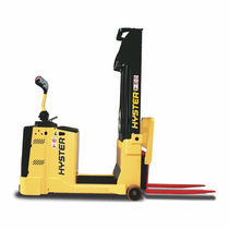 Electric stacker truck / walk-behind / for warehouses / counterbalanced
