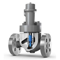 Piston actuator valve / pneumatically-operated / control / stainless steel