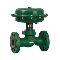 Piston actuator valve / electric / pneumatically-operated / control