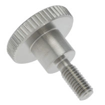 Screw with round head / knurled / stainless steel
