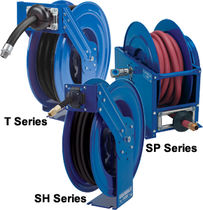 Hose reel / self-retracting / mobile / dual-pedestal