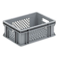 Plastic crate / for logistics / foodstuffs / perforated