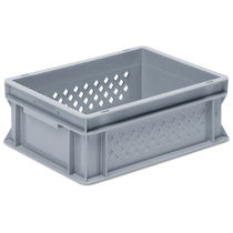PP crate / stacking / with handles / perforated