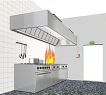 Commercial kitchen fire extinguishing system / clean agent