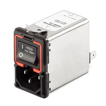 Power entry module with switch / IEC with 2-pole circuit breaker / single-stage / with EMI filter