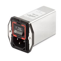 IEC power entry module with 2-pole circuit breaker / with switch / dual-stage / with EMI filter