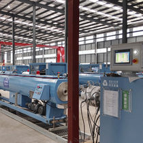 Tube extrusion line / for PVC / multilayer / for drainage pipes