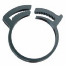 Nylon hose clamp / with double toothed jaws / band