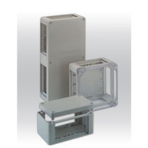 Enclosure with flange / rectangular / glass fiber-reinforced polyester / high-resistance